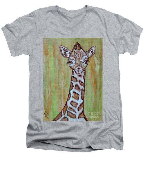 Men's V-Neck T-Shirt featuring the painting Baby Longneck Giraffe by Ella Kaye Dickey