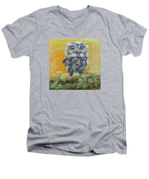 Baby Owl Men's V-Neck T-Shirt by Christine Lathrop