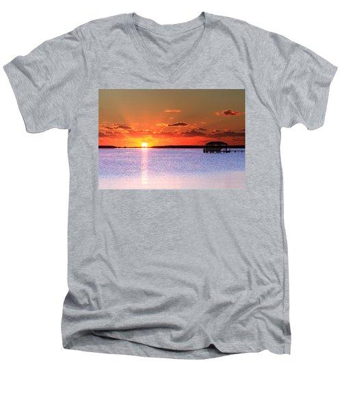 Back Bay Sunrise Men's V-Neck T-Shirt