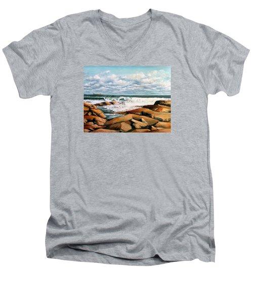 Back Shore Gloucester Men's V-Neck T-Shirt by Eileen Patten Oliver