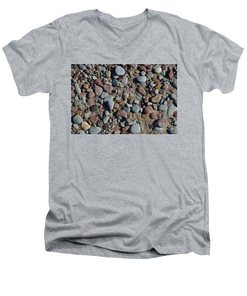 Men's V-Neck T-Shirt featuring the photograph Background Of Wet Pebbles And Sand by Kennerth and Birgitta Kullman