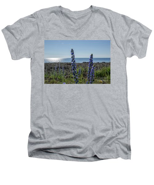Backlit Blue Flowers  Men's V-Neck T-Shirt