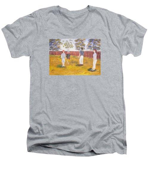 Men's V-Neck T-Shirt featuring the painting Backyard Cricket Under The Hot Australian Sun by Pamela  Meredith