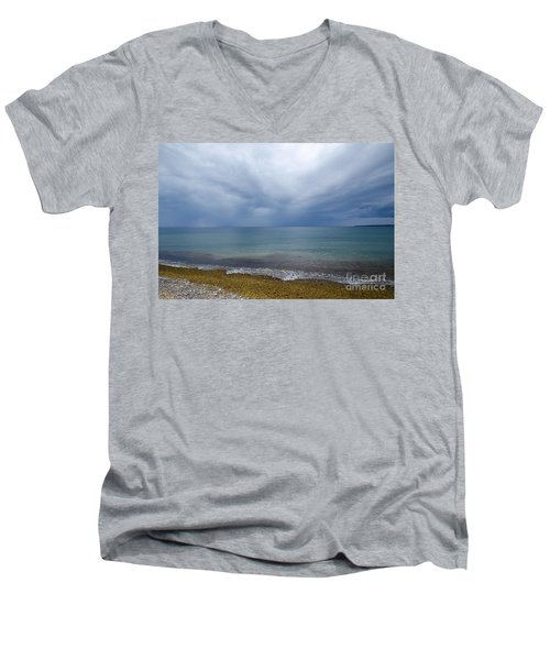 Men's V-Neck T-Shirt featuring the photograph Bad Weather Approaching At The Coast by Kennerth and Birgitta Kullman
