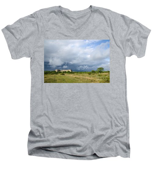Men's V-Neck T-Shirt featuring the photograph Bad Weather Is Coming Up At  A Medieval Castle Ruin by Kennerth and Birgitta Kullman