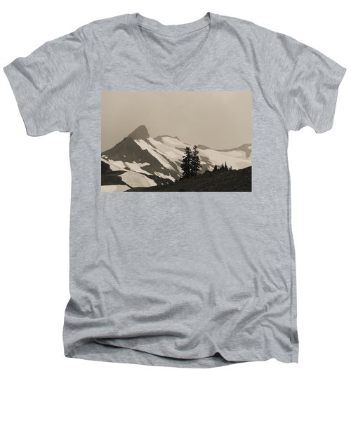 Men's V-Neck T-Shirt featuring the photograph Fog In Mountains by Yulia Kazansky