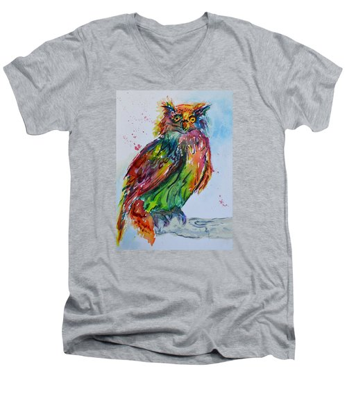Baffled Owl Men's V-Neck T-Shirt by Beverley Harper Tinsley