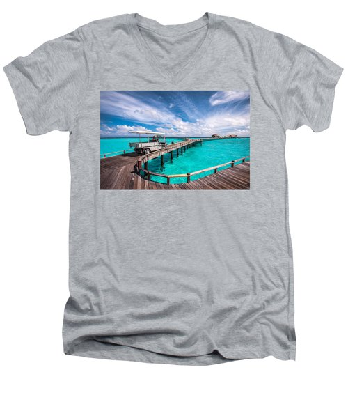 Baggy On The Jetty Over The Blue Lagoon Men's V-Neck T-Shirt