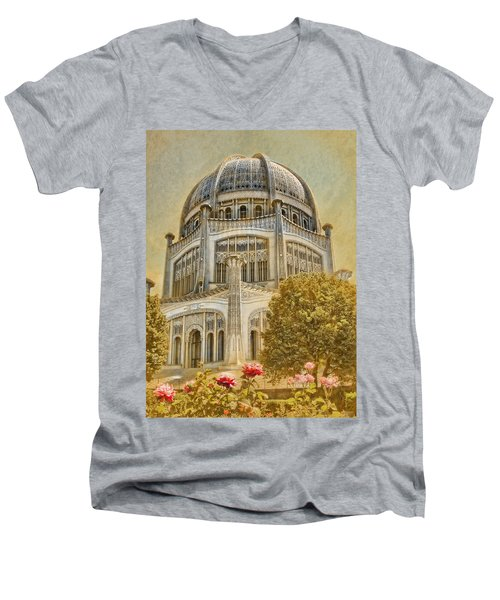 Baha'i  Temple In Wilmette Men's V-Neck T-Shirt