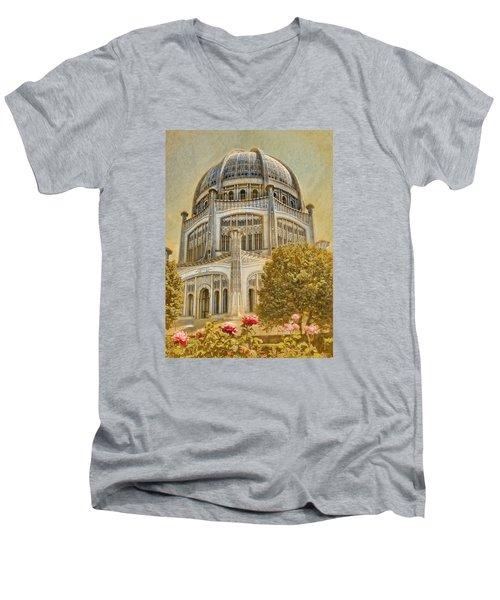 Baha'i  Temple In Wilmette Men's V-Neck T-Shirt