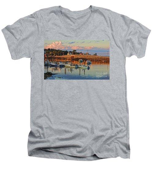 Bailey Island Bridge At Sunset Men's V-Neck T-Shirt