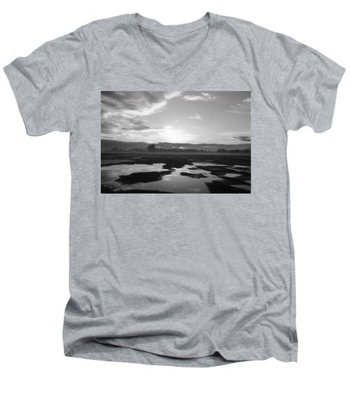 Men's V-Neck T-Shirt featuring the photograph Bakersfield In Black And White by Meghan at FireBonnet Art