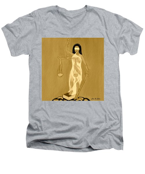 Men's V-Neck T-Shirt featuring the painting Balance 3 by Lorna Maza