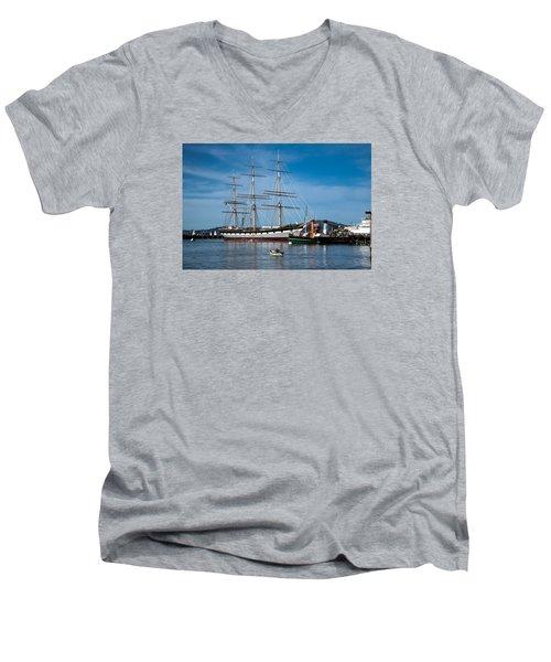 Rowing Past Balclutha And Steamship Eppleton Hall Men's V-Neck T-Shirt
