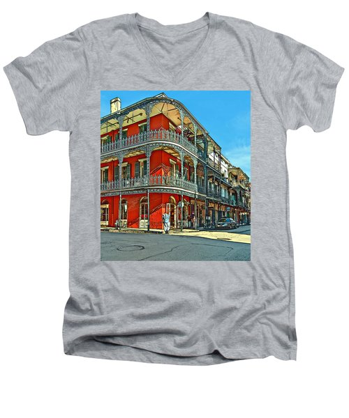 Balconies Painted Men's V-Neck T-Shirt by Steve Harrington