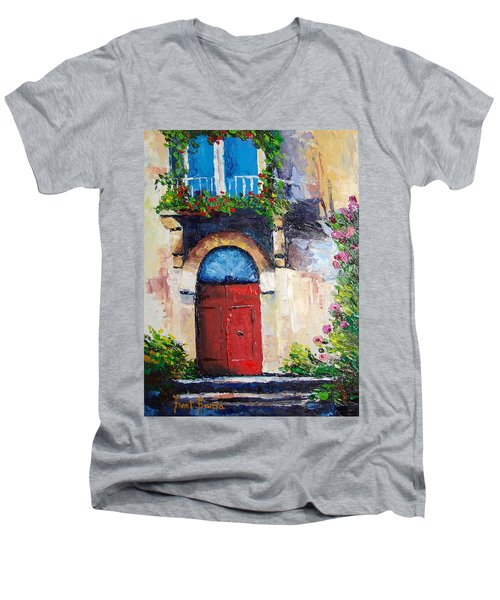 Balcony Men's V-Neck T-Shirt by Janet Garcia