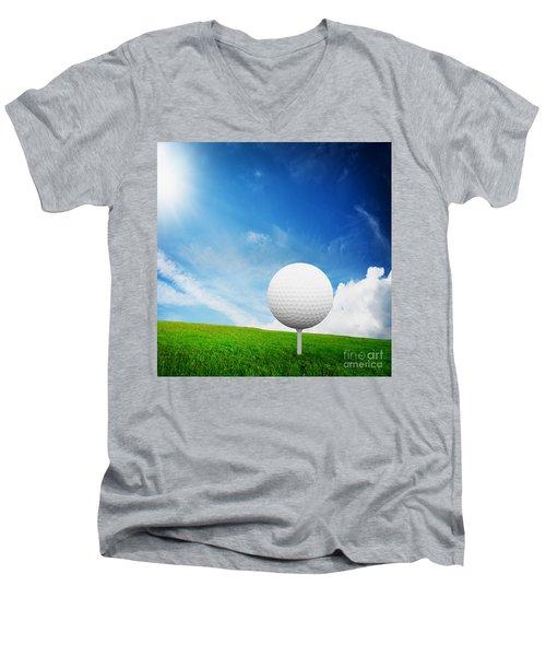 Ball On Tee On Green Golf Field Men's V-Neck T-Shirt