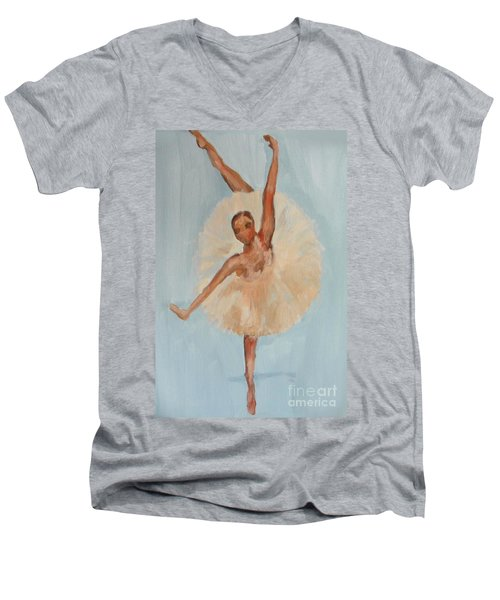 Men's V-Neck T-Shirt featuring the painting Ballerina by Marisela Mungia