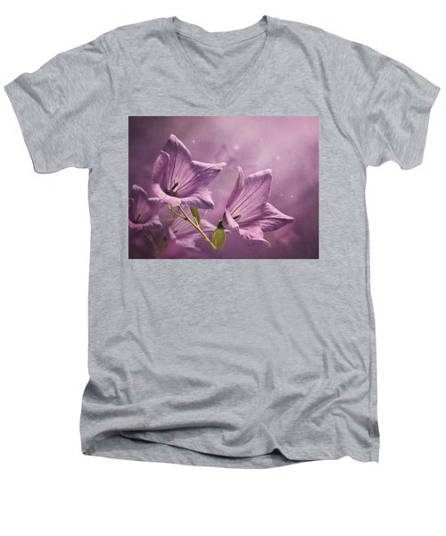 Men's V-Neck T-Shirt featuring the photograph Balloon Flowers by Ann Lauwers