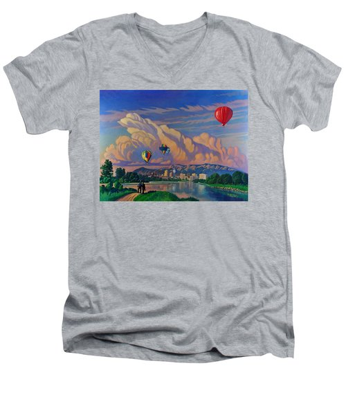 Men's V-Neck T-Shirt featuring the painting Ballooning On The Rio Grande by Art James West