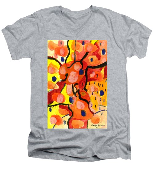 Men's V-Neck T-Shirt featuring the painting Balloons At Mid-day by Stephen Lucas