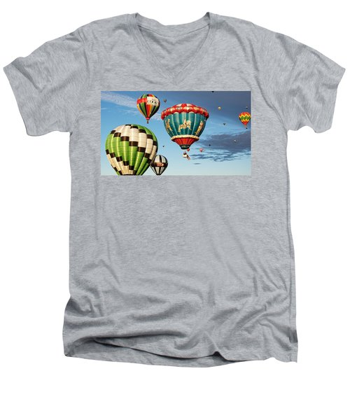 Balloons Away Men's V-Neck T-Shirt by Dave Files