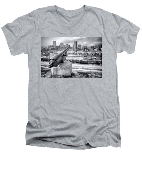Baltimore Inner Harbor Skyline Men's V-Neck T-Shirt