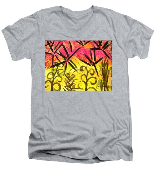 Men's V-Neck T-Shirt featuring the painting Bamboo In The Wind by Joan Reese