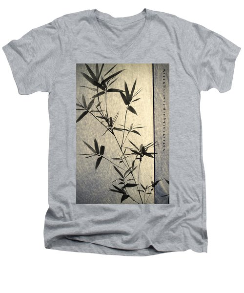 Bamboo Leaves Men's V-Neck T-Shirt by Jenny Rainbow
