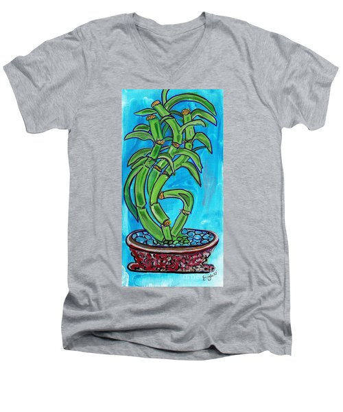 Bamboo Twist Men's V-Neck T-Shirt by Ecinja Art Works