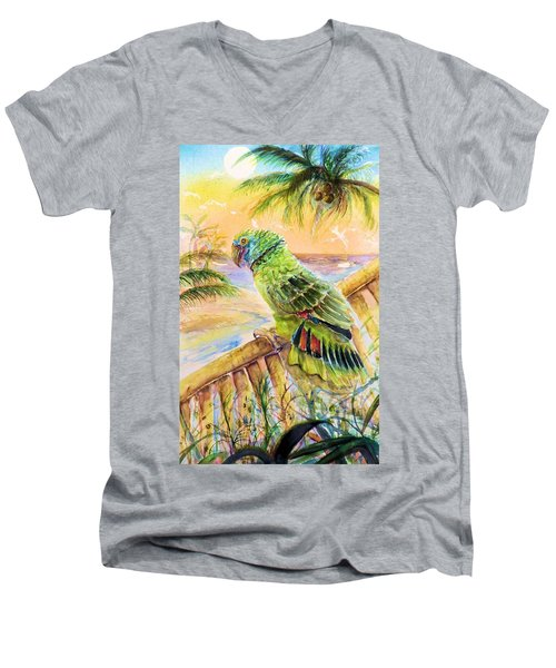 Banana Tree And Tropical Bird Men's V-Neck T-Shirt by Bernadette Krupa