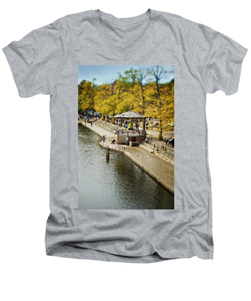 Bandstand In Chester Men's V-Neck T-Shirt by Meirion Matthias