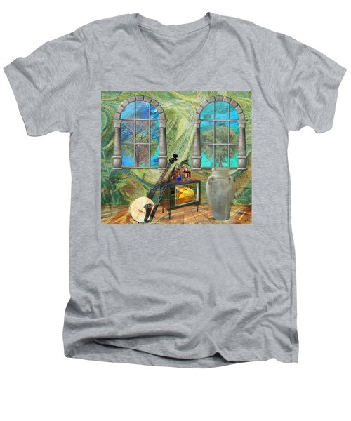 Men's V-Neck T-Shirt featuring the mixed media Banjo Room by Ally  White