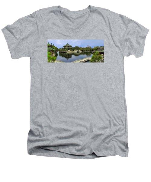 Baomo Garden Temple Men's V-Neck T-Shirt by Nicola Nobile