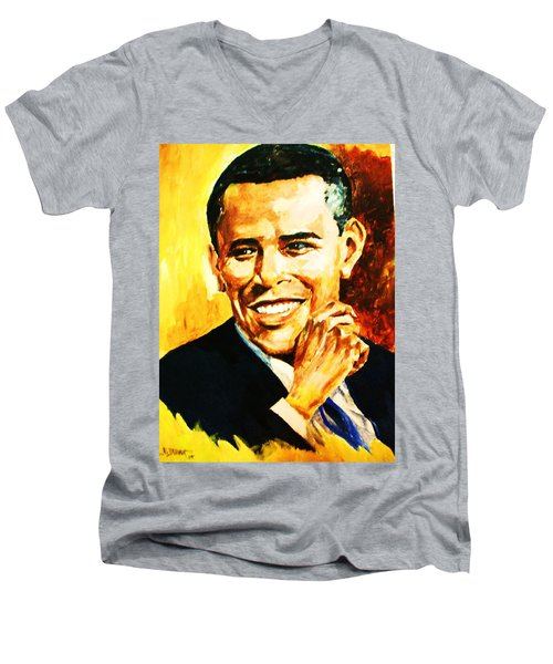 Men's V-Neck T-Shirt featuring the painting Barack Obama by Al Brown