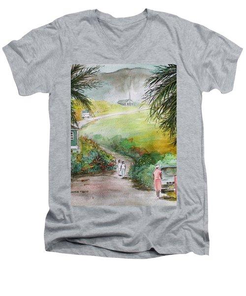 Barbados Men's V-Neck T-Shirt by Frank Hunter