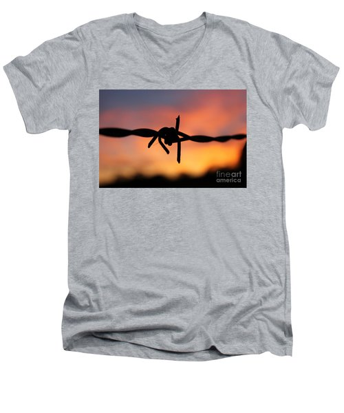 Men's V-Neck T-Shirt featuring the photograph Barbed Silhouette by Vicki Spindler