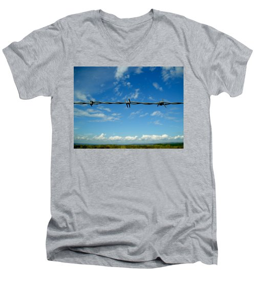 Men's V-Neck T-Shirt featuring the photograph Barbed Sky by Nina Ficur Feenan