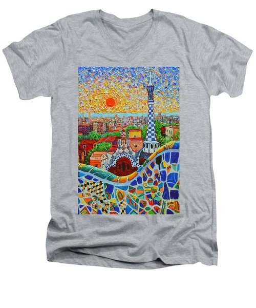 Barcelona Sunrise - Guell Park - Gaudi Tower Men's V-Neck T-Shirt