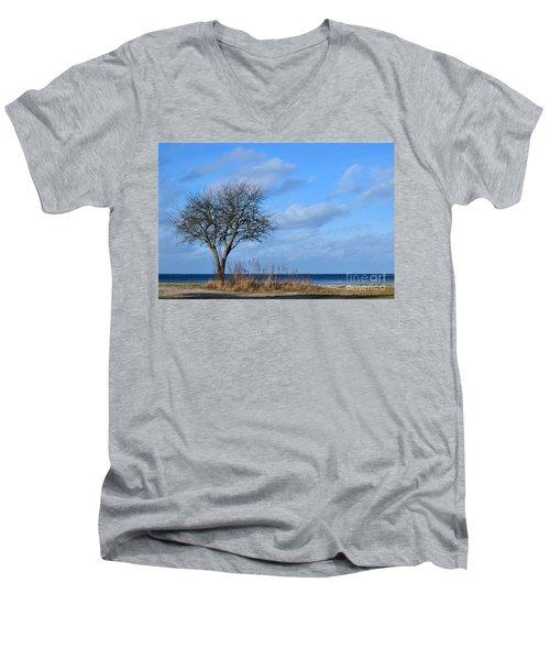 Bare Single Tree Men's V-Neck T-Shirt by Kennerth and Birgitta Kullman