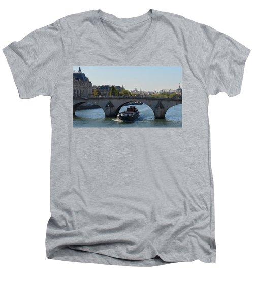 Barge On River Seine Men's V-Neck T-Shirt by Cheryl Miller