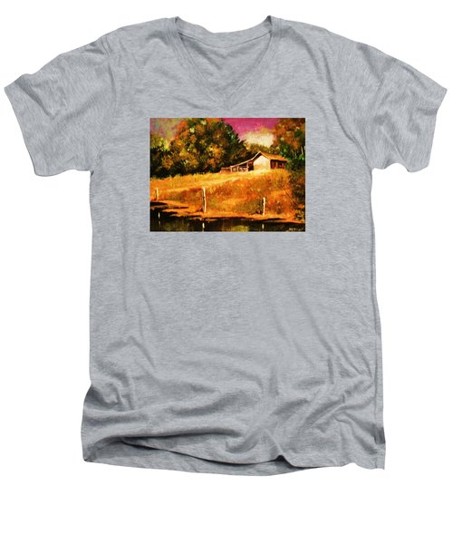 Men's V-Neck T-Shirt featuring the painting Barn Above The Creekbed by Al Brown