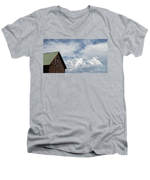Men's V-Neck T-Shirt featuring the photograph Barn And Clouds by Joseph J Stevens