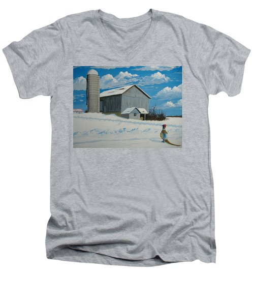 Barn And Pheasant Men's V-Neck T-Shirt