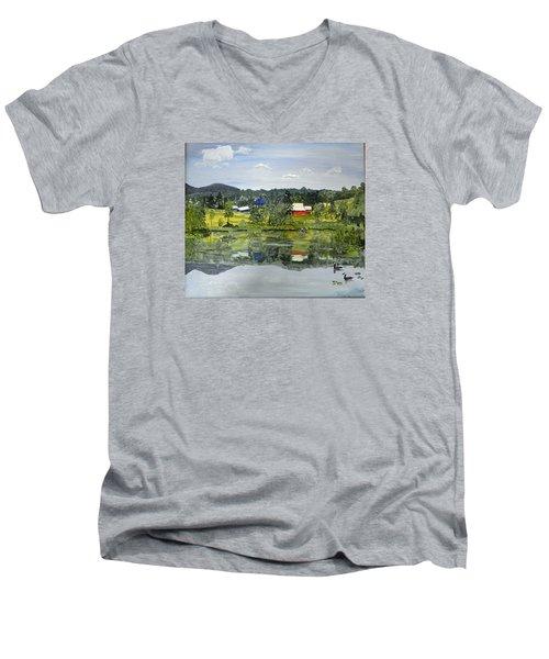 Barn At Little Elk Lake Men's V-Neck T-Shirt by Christine Lathrop