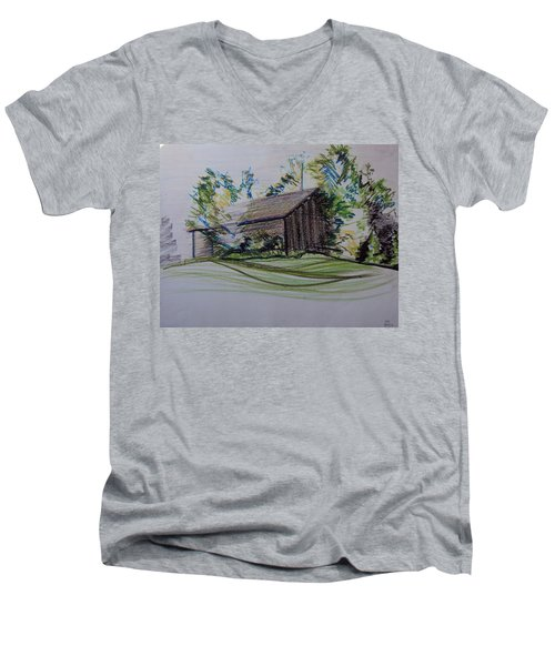Old Barn At Wason Pond Men's V-Neck T-Shirt