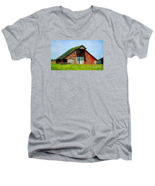 Barn - Central Illinois - Luther Fine Art Men's V-Neck T-Shirt by Luther Fine Art