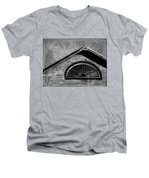 Men's V-Neck T-Shirt featuring the photograph Barn Detail - Black And White by Joseph Skompski
