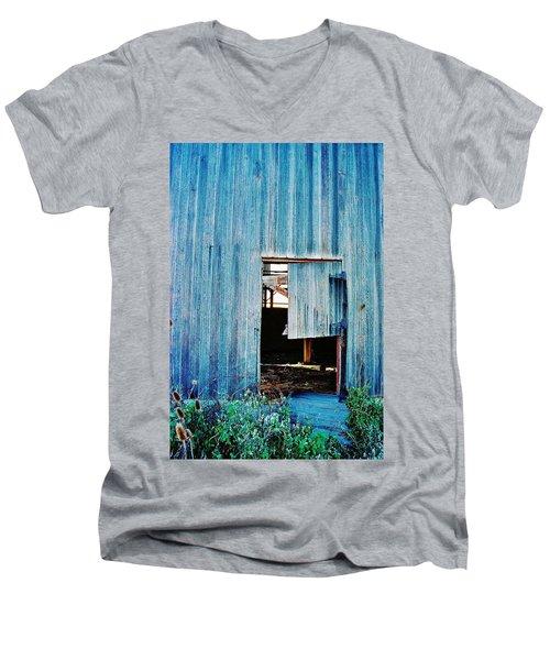 Men's V-Neck T-Shirt featuring the photograph Barn Door... Monroe Co. Michigan by Daniel Thompson