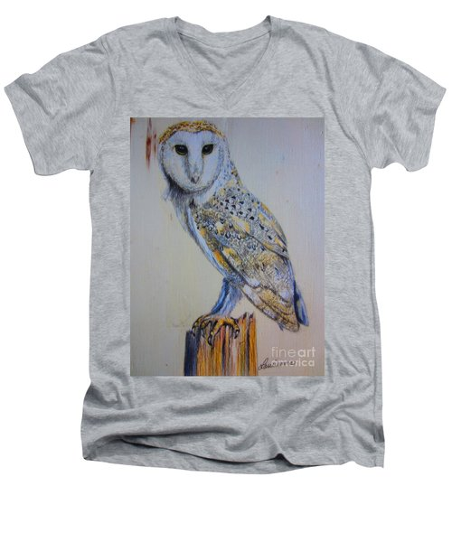 Barn Owl Men's V-Neck T-Shirt by Laurianna Taylor